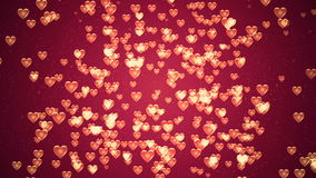Valentine`s day background, flying abstract hearts and particles stock video footage