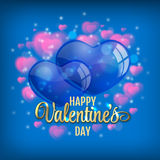 Valentine's day background with flying bubbles hearts. Vector illustration. Stock Image