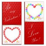 Valentine`s day background with funny hearts. Banner Stock Images