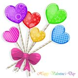 Valentine`s day background with funny hearts. On white Stock Image
