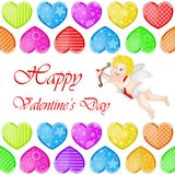Valentine`s day background with funny hearts. On white Stock Photography