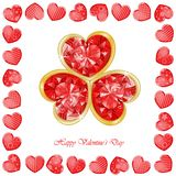 Valentine`s day background with funny hearts. On white Stock Images