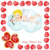 Valentine`s day background with funny hearts. On white Stock Photos