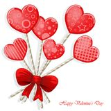 Valentine`s day background with funny hearts. On white Royalty Free Stock Photo