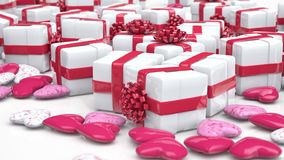 Valentine`s day background, gift boxes and hearts stock video footage