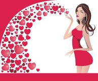 Valentine's Day background with girl and hearts Royalty Free Stock Photography