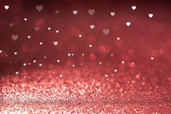 Valentine`s Day background glittered hearts Stock Images