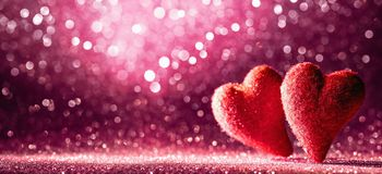 Valentine`s Day Background Glittering Bokeh Effect royalty free stock image