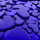Valentine`s day background. Group blue hearts. Valentine`s day background. 3d render illustration Royalty Free Stock Image