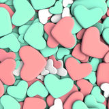 Valentine`s day background. Group blue and pink hearts. Valentine`s day background. 3d render illustration Stock Photography