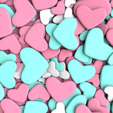 Valentine`s day background. Group blue and pink hearts. Valentine`s day background. 3d render illustration Stock Images
