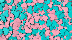 Valentine`s day background. Group blue and pink hearts. Valentine`s day background. 3d render illustration Royalty Free Stock Image
