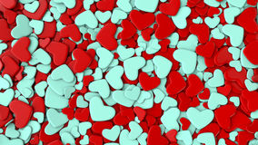 Valentine`s day background. Group blue and red hearts. Valentine`s day background. 3d render illustration Stock Photos