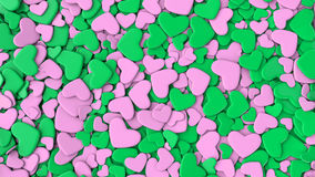 Valentine`s day background. Group green and pink hearts. Valentine`s day background. 3d render illustration Stock Photography