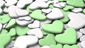 Valentine`s day background. Group green and white hearts. Valentine`s day background. 3d render illustration Royalty Free Stock Image