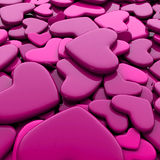 Valentine`s day background. Group pink hearts. Valentine`s day background. 3d render illustration Stock Images