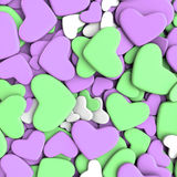 Valentine`s day background. Group purple and green hearts. Valentine`s day background. 3d render illustration Royalty Free Stock Photo