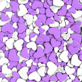Valentine`s day background. Group purple and white  hearts. Valentine`s day background. 3d render illustration Royalty Free Stock Image