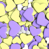 Valentine`s day background. Group purple and yellow hearts. Valentine`s day background. 3d render illustration Stock Image