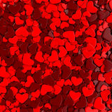 Valentine`s day background. Group red hearts. Valentine`s day background. 3d render illustration Stock Image