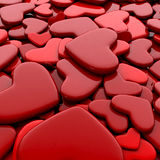 Valentine`s day background. Group red hearts. Valentine`s day background. 3d render illustration Stock Images