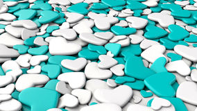 Valentine`s day background. Group white and blue hearts. Valentine`s day background. 3d render illustration Stock Photos