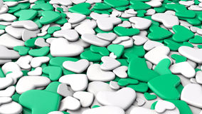 Valentine`s day background. Group white and green hearts. Valentine`s day background. 3d render illustration Stock Images