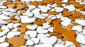 Valentine`s day background. Group white and orange hearts. Valentine`s day background. 3d render illustration Royalty Free Stock Photography