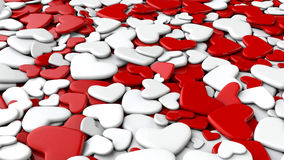 Valentine`s day background. Group white and red hearts. Valentine`s day background. 3d render illustration Royalty Free Stock Images