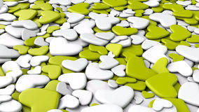Valentine`s day background. Group white and yellow-green hearts. Valentine`s day background. 3d render illustration Stock Photography