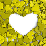 Valentine`s day background. Group yellow-green hearts. Valentine`s day background. 3d render illustration Royalty Free Stock Photos