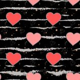 Valentine s Day background. Grunge brush strokes Hearts and Stripes Seamless pattern. Love. Eps 10 Stock Photos