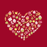 Valentine's Day background with hand drawn holiday items in a sh Stock Image