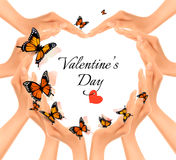 Valentine's day background. Hands in a shape of a heart Stock Image