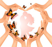 Valentine`s day background. Hands in a shape of a heart Stock Photography