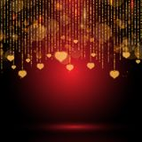 Valentine`s Day background with hanging hearts. Valentin`s Day background with glowing hanging hearts royalty free illustration