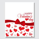 Valentine`s day background with hanging hearts. Vector. Holiday background with red bow, ribbon and hearts. Design for posters, banners or cards Valentines day Royalty Free Stock Photography