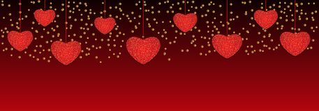 Valentine`s day background with hanging hearts. Vector. Illustration Stock Images