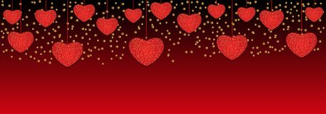 Valentine`s day background with hanging hearts. Vector. Illustration Royalty Free Stock Photography