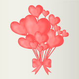Valentine's day background with heart balloons with ribbon. Royalty Free Stock Photography