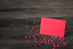 Valentine`s Day background with  heart, card and  gift. Stock Images