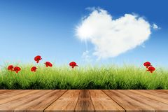 Valentine`s day background with heart cloud. Sun field with red poppies and wooden floor royalty free illustration