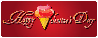 Valentine's day background with heart ice cream Royalty Free Stock Image