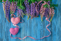 Valentine's day background with heart and red ribbon Royalty Free Stock Photo