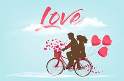 Valentine`s Day background with a heart ballons royalty free stock image