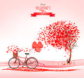 Valentine`s Day background with a heart shaped tree Stock Photos