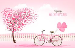 Valentine`s Day background with a heart shaped trees Stock Photography