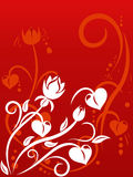 Valentine's Day background with hearts. Floral ornament, bud, element for design,  illustration Stock Images