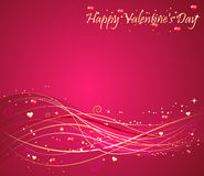 Valentine's day background with hearts design. Valentine's day pink background with nice wave design vector illustration