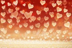 Valentine`s day background, hearts on glittered background Royalty Free Stock Photos